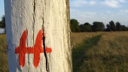 """Diese Markierung des """"Hochrhöners"""" begleitet uns durchs Naturschutzgebiet """"Lange Rhön"""""""