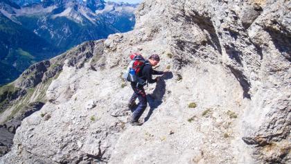 Kletterei nach der Rinne an der Leilachspitze