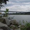 Blick auf die Donau - im Hintergrund die Autobahnbrücke.