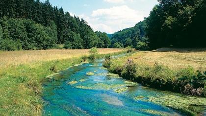 Wir wandern durch eine herrliche Flusslandschaft.