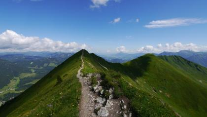 Blick vom Fellhorn auf den sich nach Nordosten fortsetzenden Bergkamm - rechts der Schlappoltkopf