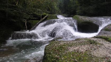 Blick auf die Wasserfälle im Eistobel