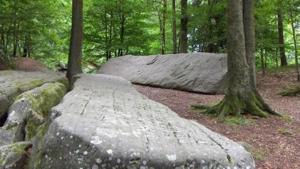 Die langen Steine wurden wahrscheinlich im 18. Jahrundert von Steinmetzen an dieser Stelle bearbeitet.