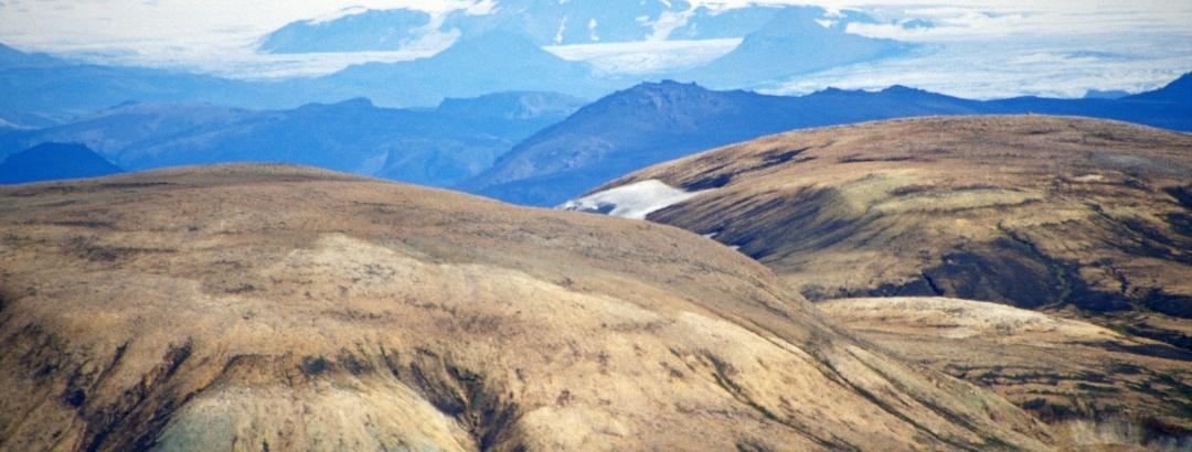 Blick vom Fjallabak zum Vatnajökull und Hamarinn