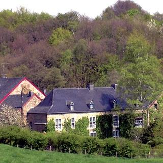 Zwischen Bäumen liegen die Gebäude der ehemaligen Mühle.