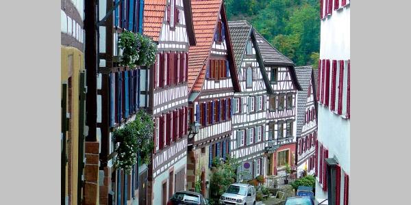 Fachwerkhäuser und kleine Gässchen entlang des Weges.