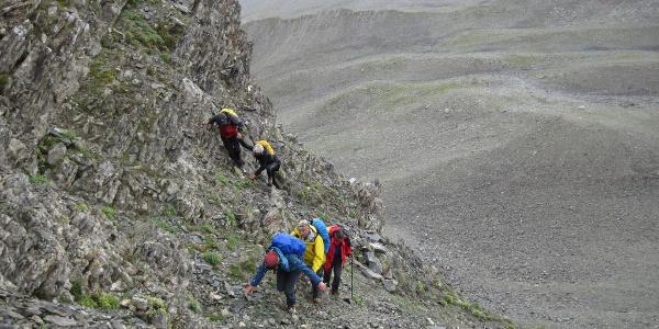 Schlüsselstelle, eine Steilstufe ca. 3030m bis 3120m