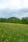 In der Ferne sehen wir den Roßberg.