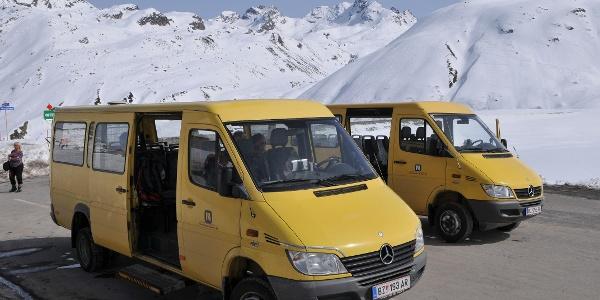 Bielerhöhe, Tunnelbusse von bzw. zur Vermuntbahn