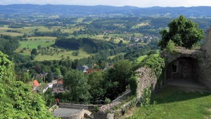 Blick von der Burg Lindenfels in die Nachbartäler
