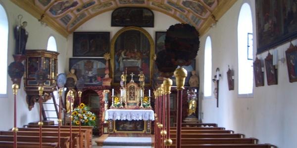Innenraum der Riedkapelle am Benninger Ried nahe Memmingen.