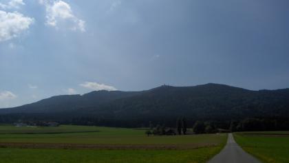 Im Streckenteil zwischen Oberfaustern und Multererhof fahren wir mit herrlichem Ausblick auf den Hohen Bogen.