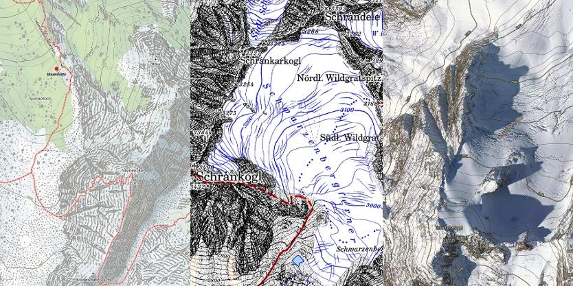 v.l. Outdooractive Karte, Alpenvereinskarte, Luftbild mit Höhenlinien der Outdooractive Karte
