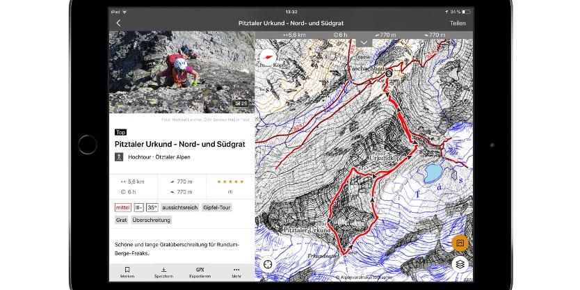 Tourenbeschreibung auf den Pitztaler Urkund, Kartengrundlage: Alpenvereinskarten