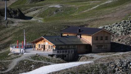 Hexenseehütte vom Aufstieg zum Masnerjoch (Tele)