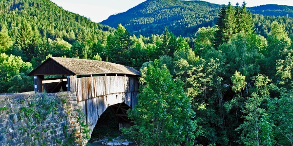 Covered wood bridge