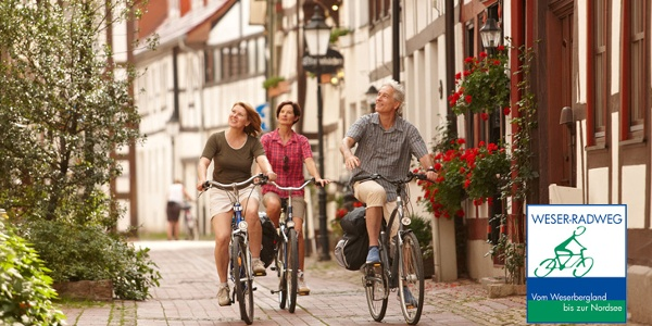 Radfahrer in der Hamelner Altstadt