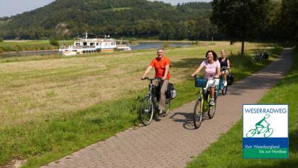 Der Weser-Radweg ist weitesgehend flach ohne nennenswerte Steigungen
