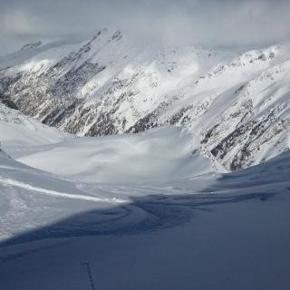 Blick vom Skidepot ins NW-Kar