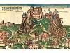 Colorierter Holzschnitt des Kriegsberichterstatters Hans Wandereisen um 1523. Die Burg Vellberg nahe Schwäbisch Hall war eine Ganerbenburg im Besitz der Familie von Vellberg. Sie wurde am 11. Juni 1523 gestürmt und zum Teil abgebrochen. Wilhelm von Vellberg baute sie bis 1546 größtenteils wieder auf.   - © Quelle: wikipedia