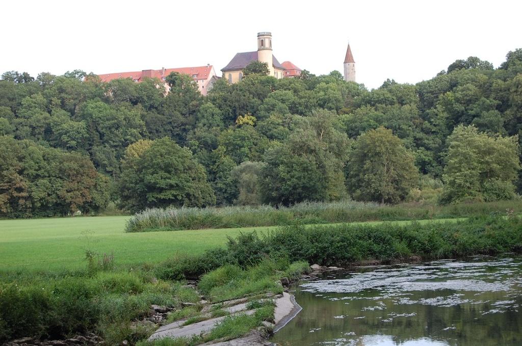 Stadtturm und Stadtkirche über dem Eichenauer Wehr  - @ Autor: Helmut Klingler  - © Quelle: Helmut Klingler