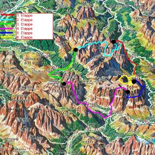 Multiday trekking on the Alta Badia high route Mountain Hike