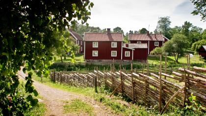 Rote Holzhäuser