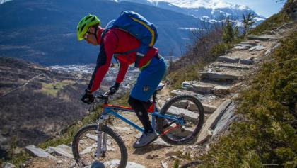 Some of the switchbacks require the back wheel to be hopped to make it around