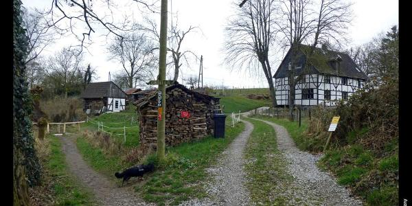 Fachwerk im Tal der Düssel bei Schöller, Wuppertal, Bergisches Land, NRW, Deutschland