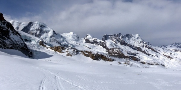 Rückblick über den Gornergletscher: Liskamm, Castor+Pollux, Breithorn