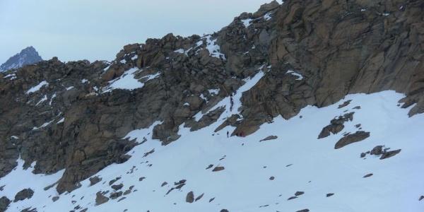 Kletterstelle über den Grat zur Gornergletscherseite