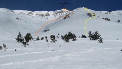 Monte Amaro - Aufstiegsrouten - orange = Standard (Rava Giumenta Bianca) ; gelb = Variante