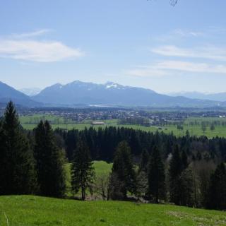 Oberhalb von Obersteinbach öffnet sich zum ersten Mal der Blick über die Loisachebene