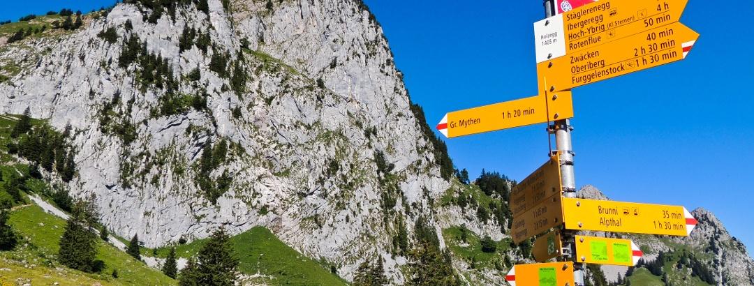 Blick von der Holzegg auf den Schwyzer Hausberg Mythen.
