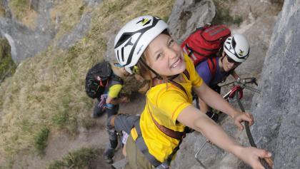 Familie am Klettersteig