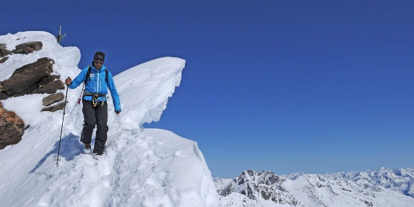 Schalfkogel: kurzer Grat kurz vor dem Gipfel