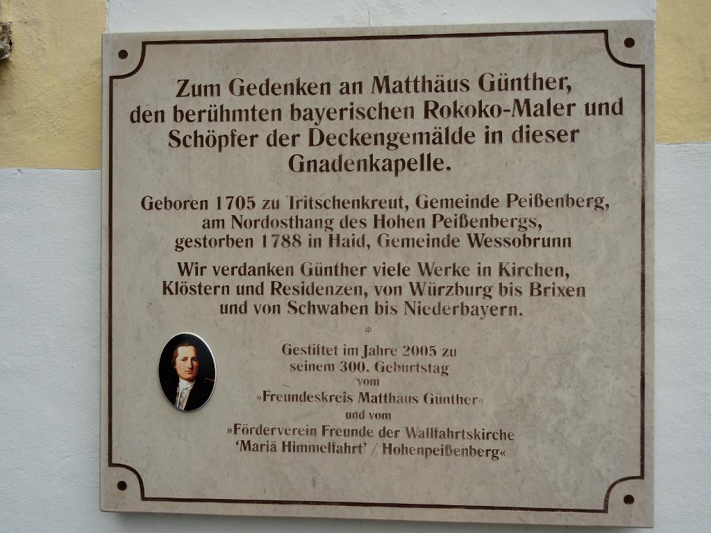Gedenktafel an Kirche a.d. Hohen Peißenberg (Christel Blankenstein)