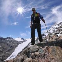 Abstieg vom Schalfkogel, Blick auf Gurgler Ferner und Hohe Wilde