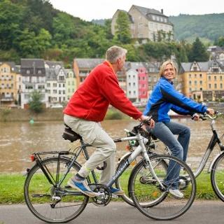 Radfahrer auf dem Mosel-Radweg