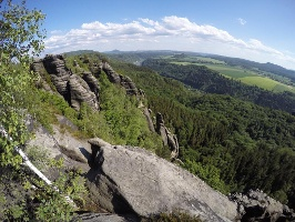 Foto  Blick von der Schrammsteinaussicht in Richtung Südosten