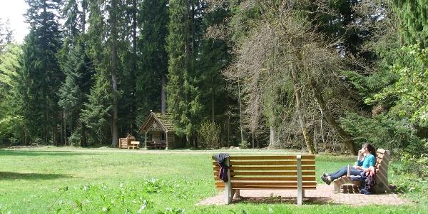 Die Wohlfühlbänke auf der idyllischen Waldliegewiese