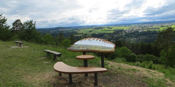 Panoramatafel, Bank und Tisch beim AugenBlick Wildberg