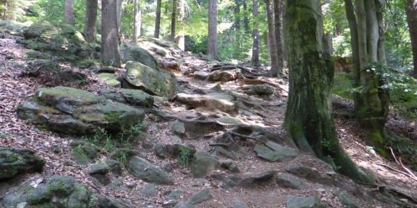 steiler, steiniger Anstieg auf den Kreuzfelsen