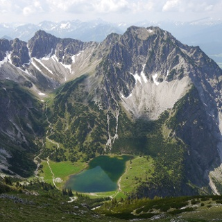 View from Entschenkopf onto lake Unterer Gaisalpsee