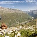 Der Blick von der Hohen Mut auf  Obergurgl vor dem Start zur Hüttenrunde