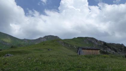 Kurz vor dem Ziel, im Hintergrund die Guflespitze