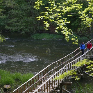 Holzbrücke über die Warnow