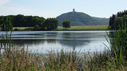 Burg Olbrück spiegelt sich im Rodder Maar - hier bei einer sommerlichen Tour.