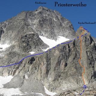 Übersichtsbild Kirche Nordwand Route und Abstieg