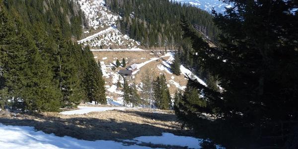 Blick von oben , auf die Hütte